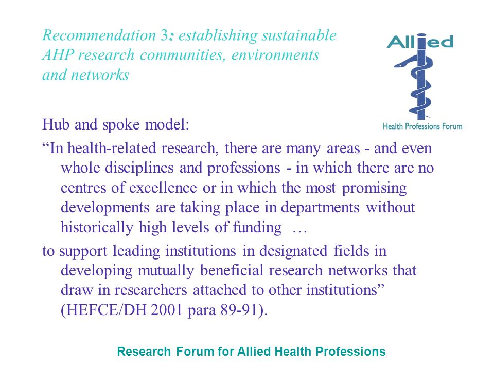 Research Forum for Allied Health Professions : Recommendation 3: establishing sustainable AHP research communities, environments and networks Hub and