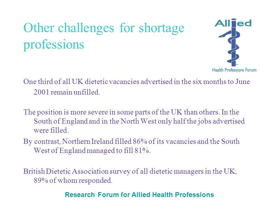 Research Forum for Allied Health Professions Other challenges for shortage professions One third of all UK dietetic vacancies advertised in the six months to June 2001 remain unfilled.