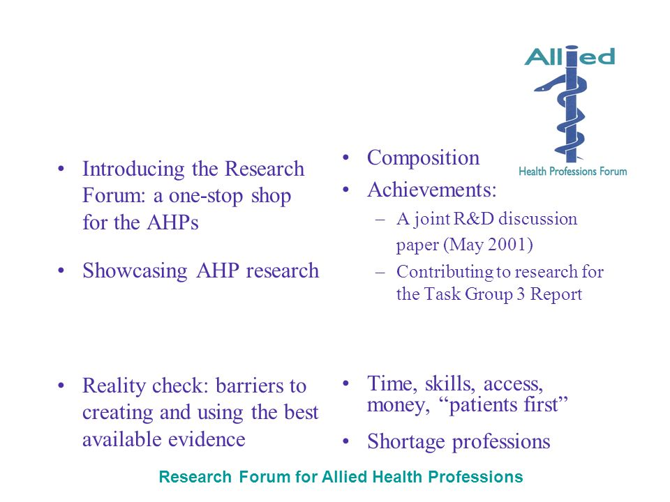 Research Forum for Allied Health Professions Introducing the Research Forum: a one-stop shop for the AHPs Showcasing AHP research Reality check: barriers to creating and using the best available evidence Composition Achievements: –A joint R&D discussion paper (May 2001) –Contributing to research for the Task Group 3 Report Time, skills, access, money, patients first Shortage professions