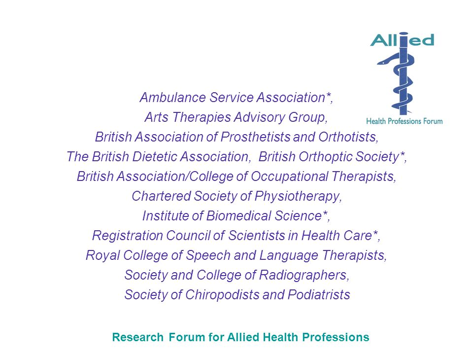 Research Forum for Allied Health Professions Ambulance Service Association*, Arts Therapies Advisory Group, British Association of Prosthetists and Orthotists, The British Dietetic Association, British Orthoptic Society*, British Association/College of Occupational Therapists, Chartered Society of Physiotherapy, Institute of Biomedical Science*, Registration Council of Scientists in Health Care*, Royal College of Speech and Language Therapists, Society and College of Radiographers, Society of Chiropodists and Podiatrists