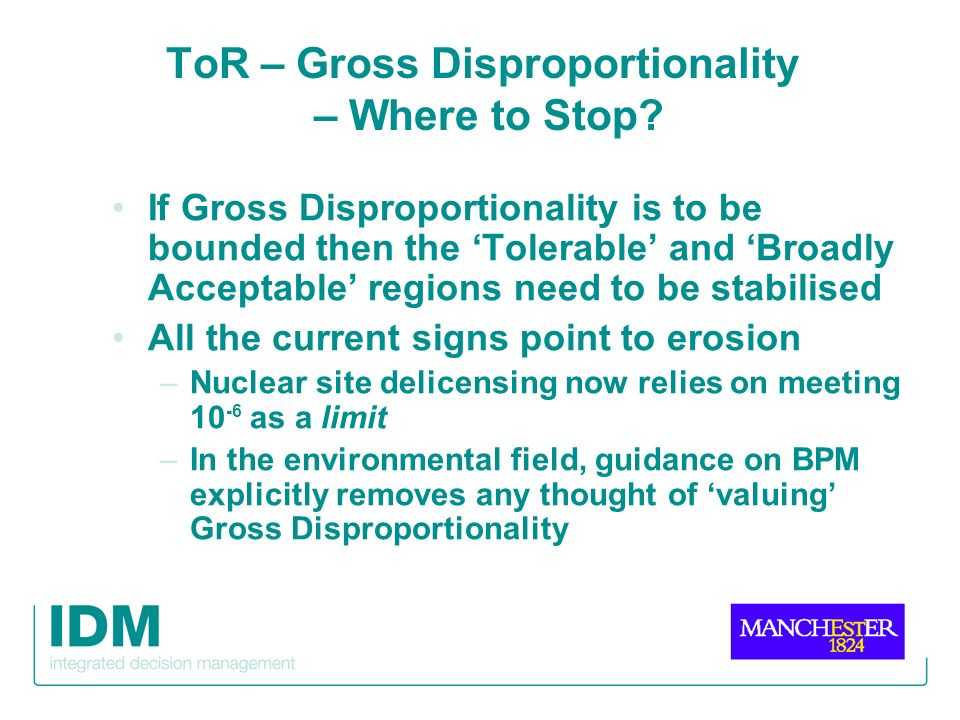 ToR – Gross Disproportionality – Where to Stop? If Gross Disproportionality is to be bounded then the Tolerable and Broadly Acceptable regions need to