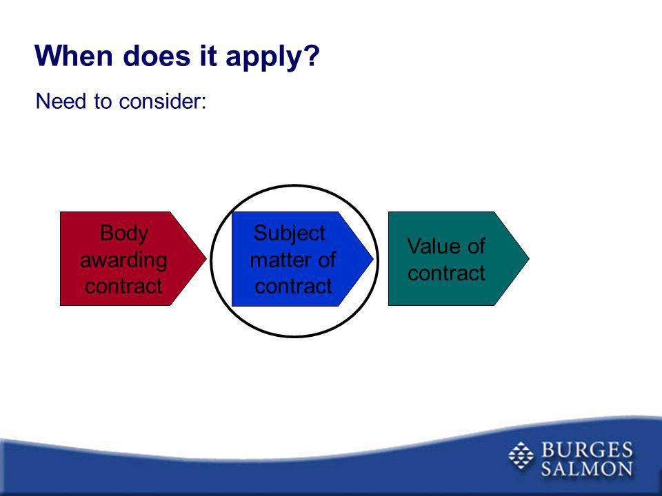 When does it apply? Body awarding contract Subject matter of contract Value of contract Need to consider: