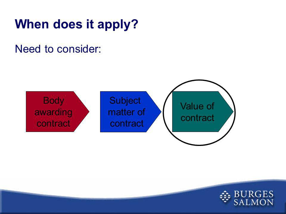 When does it apply? Need to consider: Body awarding contract Subject matter of contract Value of contract