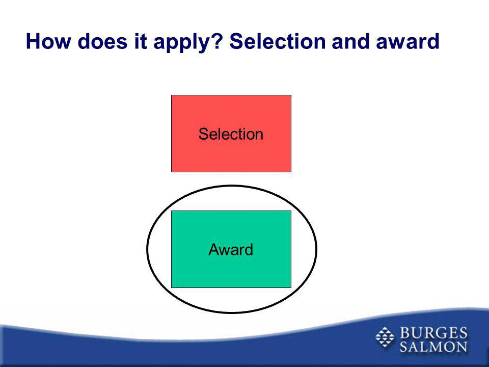 How does it apply? Selection and award Selection Award