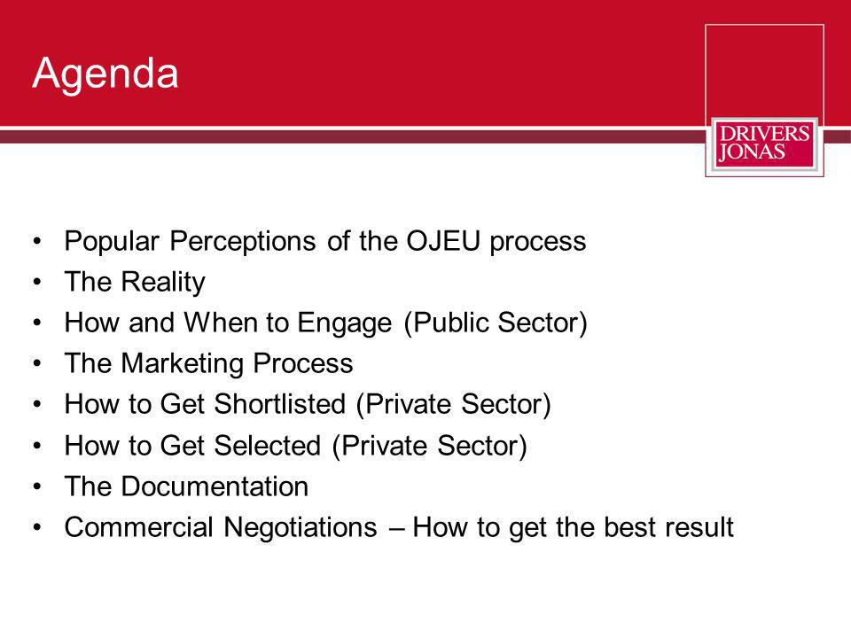 Agenda Popular Perceptions of the OJEU process The Reality How and When to Engage (Public Sector) The Marketing Process How to Get Shortlisted (Privat