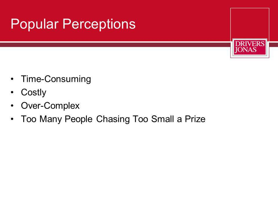 Popular Perceptions Time-Consuming Costly Over-Complex Too Many People Chasing Too Small a Prize