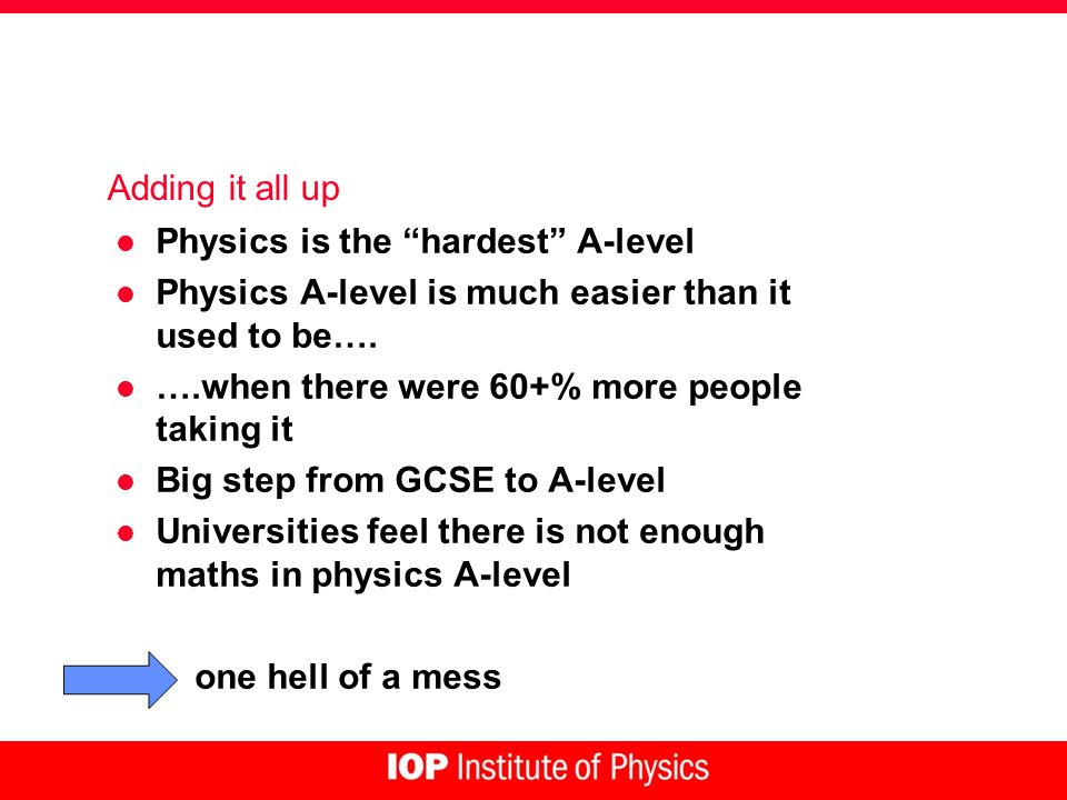 Adding it all up l Physics is the hardest A-level l Physics A-level is much easier than it used to be…. l ….when there were 60+% more people taking it