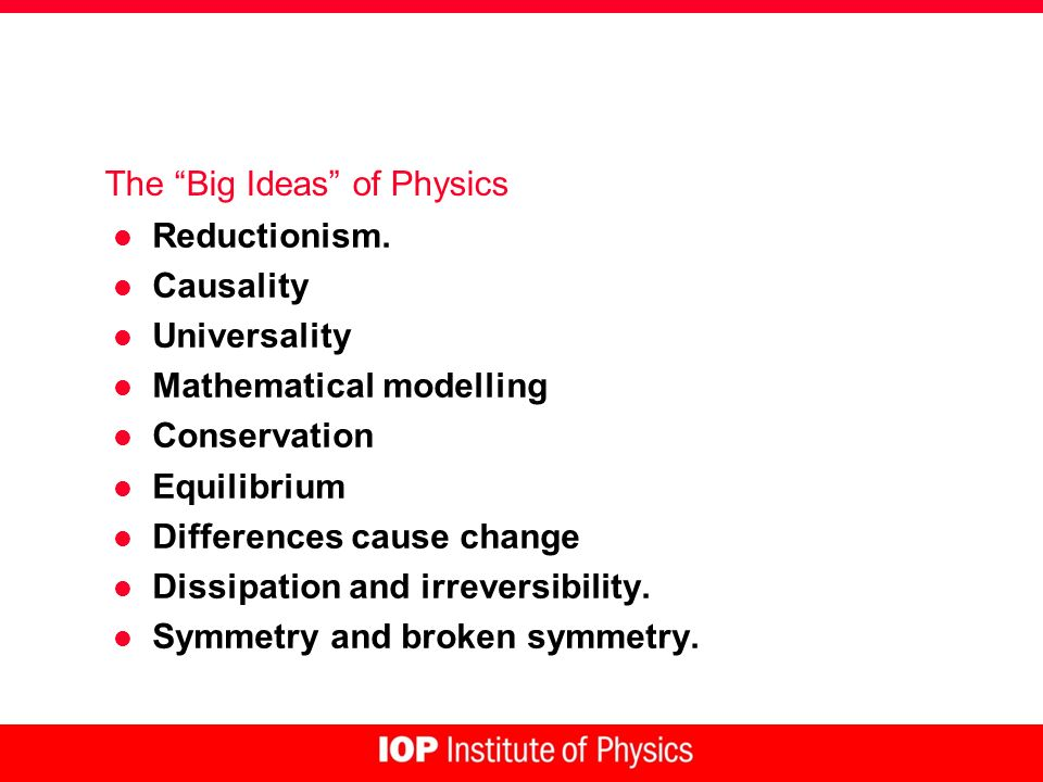 The Big Ideas of Physics l Reductionism.