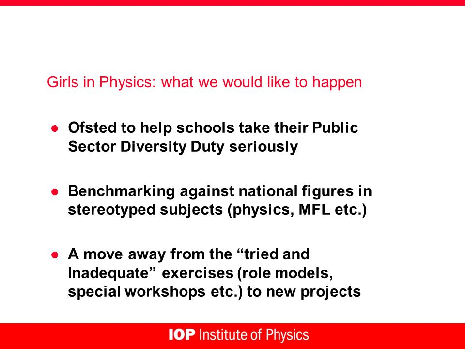 Girls in Physics: what we would like to happen l Ofsted to help schools take their Public Sector Diversity Duty seriously l Benchmarking against national figures in stereotyped subjects (physics, MFL etc.) l A move away from the tried and Inadequate exercises (role models, special workshops etc.) to new projects