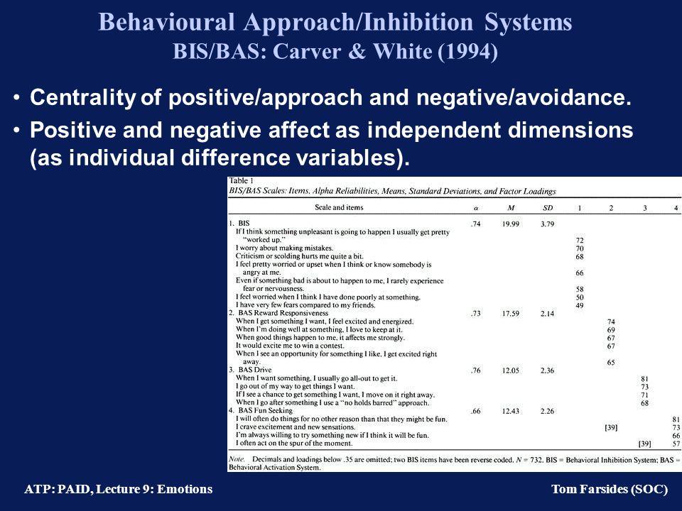 ATP: PAID, Lecture 9: Emotions Tom Farsides (SOC) Five features of emotions (Izard et al., 1993) 1) Motivational Selective perception Cognition select