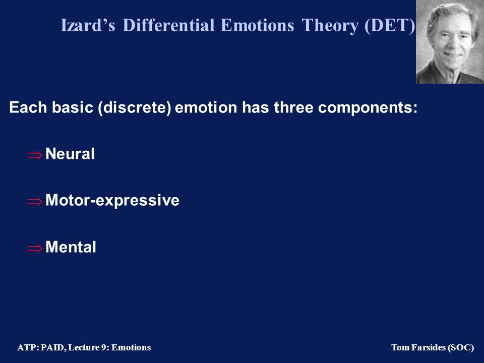 ATP: PAID, Lecture 9: Emotions Tom Farsides (SOC) Izards Differential Emotions Theory (DET) Each basic (discrete) emotion has three components: Neural Motor-expressive Mental