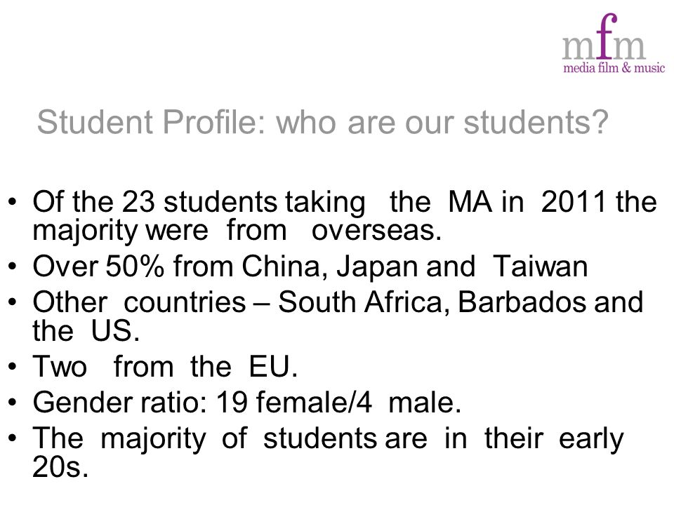 Student Profile: who are our students.