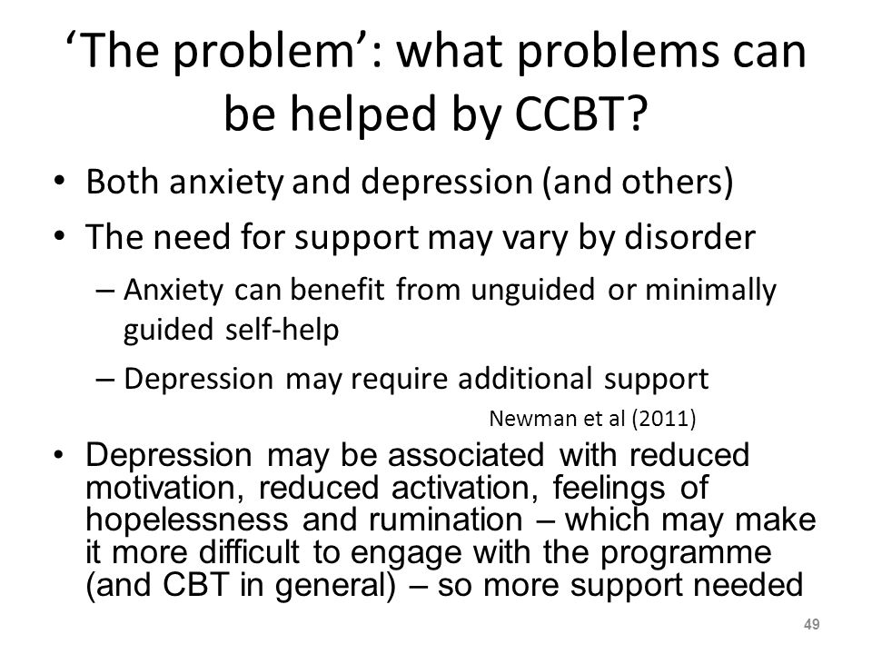 The problem: what problems can be helped by CCBT.