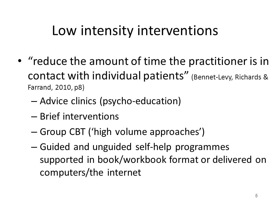 STEP 1 : All known and suspected presentations of depression STEP 2 : Persistent subthreshold depressive symptoms; mild to moderate depression STEP 3 : Persistent subthreshold depressive symptoms or mild to moderate depression with inadequate response to initial interventions; moderate and severe depression STEP 4: Severe and complex depression; risk to life; severe neglect Low-intensity psychosocial interventions, psychological interventions, medication and referral for further assessment and interventions Medication, high-intensity psychological interventions, combined treatments, collaborative care b and referral for further assessment and interventions Medication, high-intensity psychological interventions, electroconvulsive therapy, crisis service, combined treatments, multiprofessional and inpatient care Assessment, support, psychoeducation, active monitoring and referral for further assessment and interventions Focus of the intervention The stepped-care model for depression Nature of the intervention National Institute for Health and Clinical Excellence, 2009 6