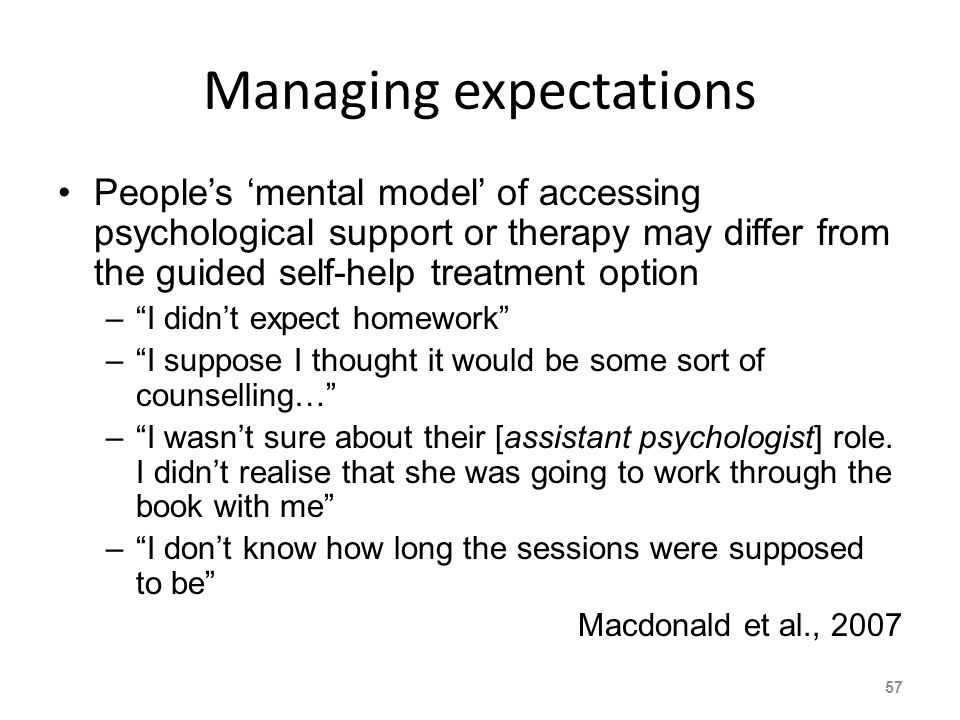 Managing expectations Peoples mental model of accessing psychological support or therapy may differ from the guided self-help treatment option –I didnt expect homework –I suppose I thought it would be some sort of counselling… –I wasnt sure about their [assistant psychologist] role.