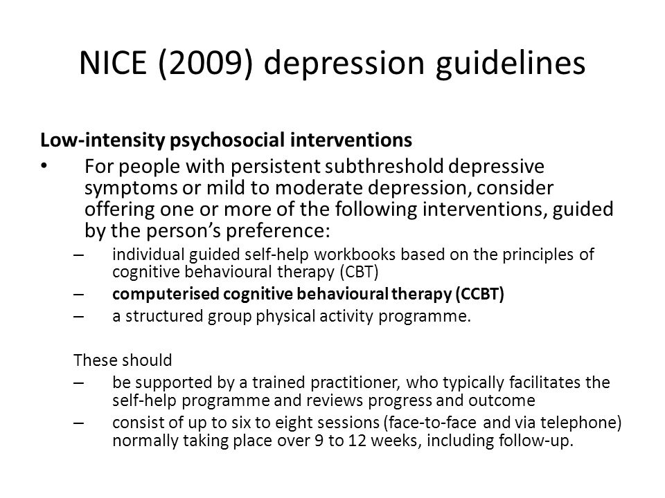 Managing expectations User expectancies can be improved by a taster session with CCBT programs (Mitchell and Gordon, 2007) Novel features of the guided self-help service should be made explicit and rehearsed e.g.