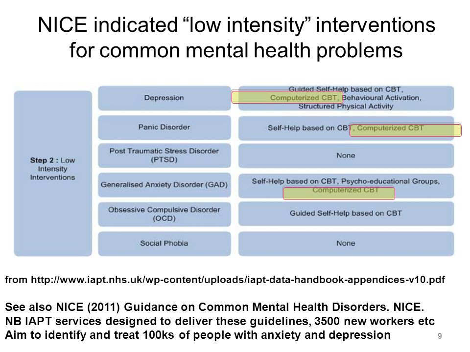 NICE indicated low intensity interventions for common mental health problems from http://www.iapt.nhs.uk/wp-content/uploads/iapt-data-handbook-appendices-v10.pdf See also NICE (2011) Guidance on Common Mental Health Disorders.