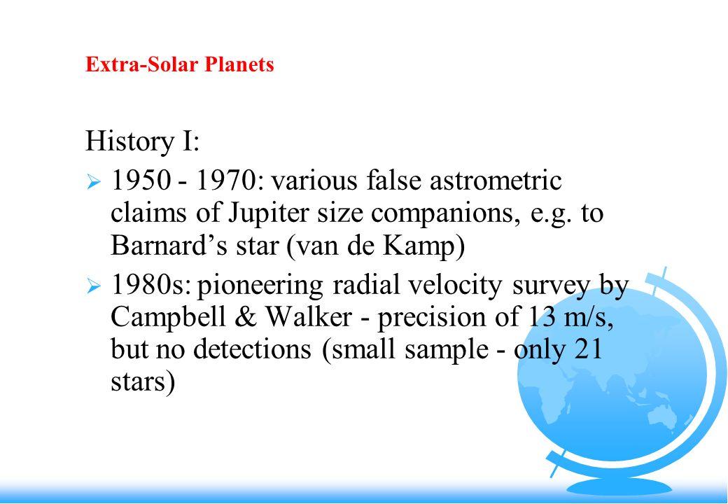 Extra-Solar Planets History I: 1950 - 1970: various false astrometric claims of Jupiter size companions, e.g.