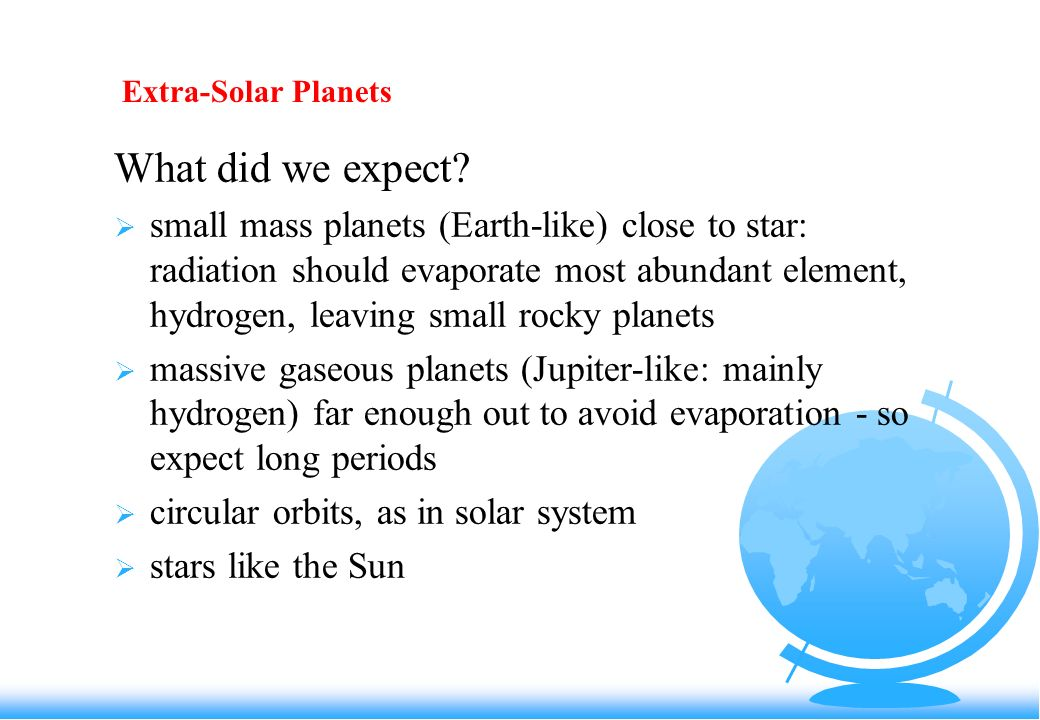 Extra-Solar Planets What did we expect.