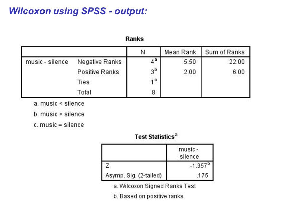 Wilcoxon using SPSS - output:
