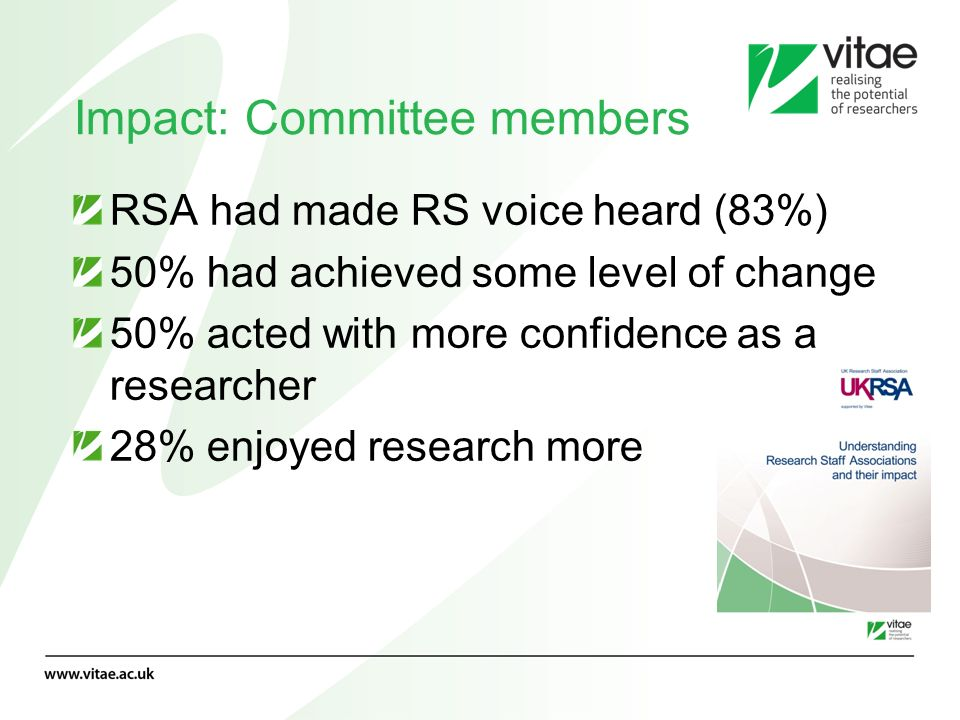 Impact: Committee members RSA had made RS voice heard (83%) 50% had achieved some level of change 50% acted with more confidence as a researcher 28% e