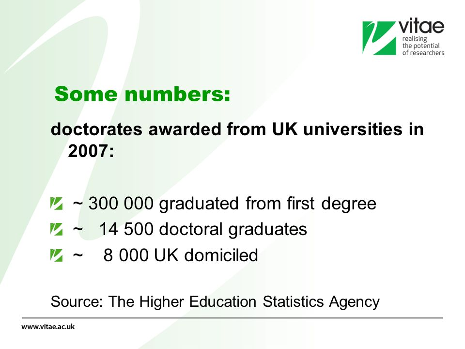 Numbers by subject 2003-2007 The numbers per subject varies from single figures up to an average of 735 per year in medicine.