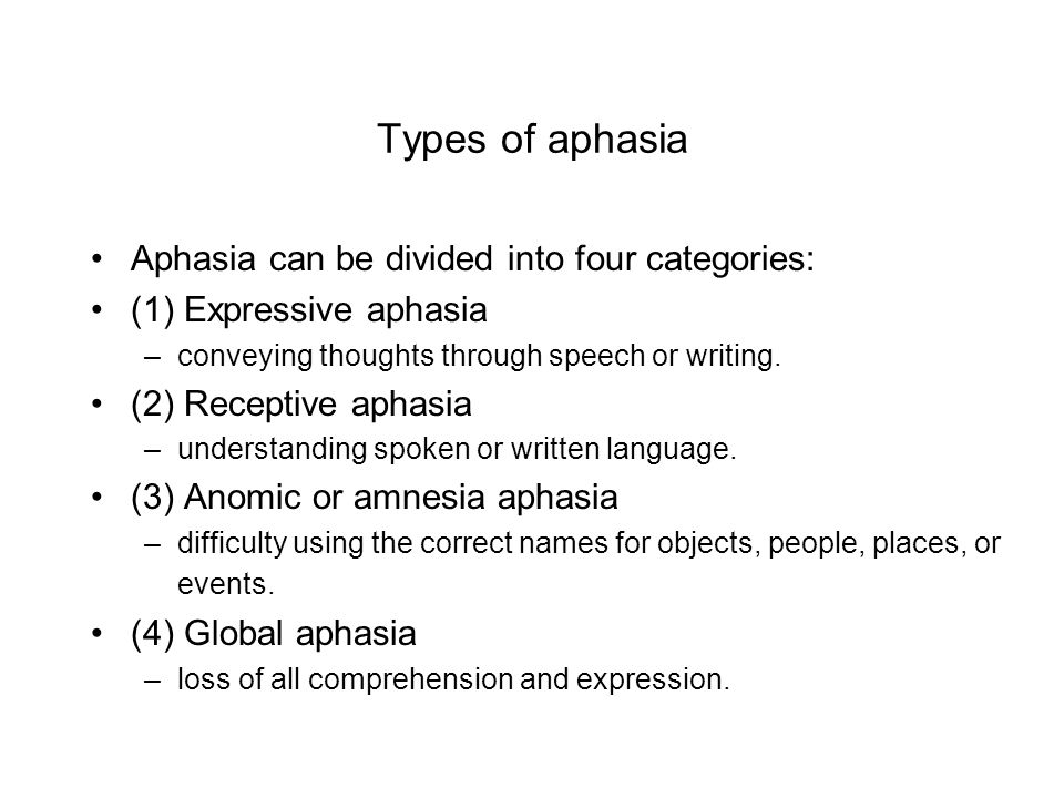 Types of aphasia Aphasia can be divided into four categories: (1) Expressive aphasia –conveying thoughts through speech or writing.