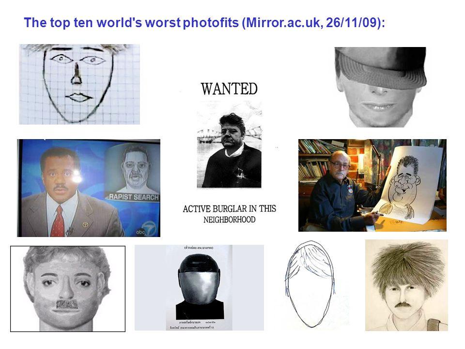 Recognition in surveillance videos: (Burton, Wilson, Cowan and Bruce 1999).