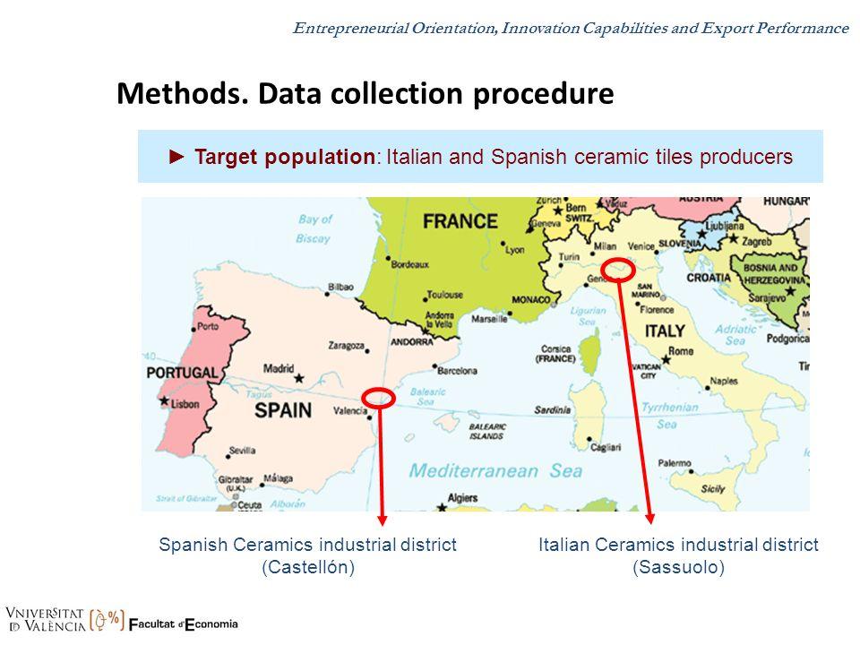 Target population: Italian and Spanish ceramic tiles producers Italian Ceramics industrial district (Sassuolo) Spanish Ceramics industrial district (C