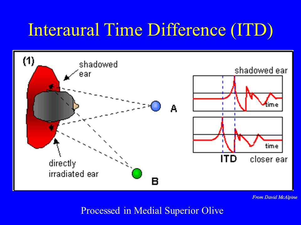 Raleighs Duplex theory for pure tones Low frequency pure tones (<1500 Hz) localised by interaural time differences High frequency pure tones localised by intensity differences