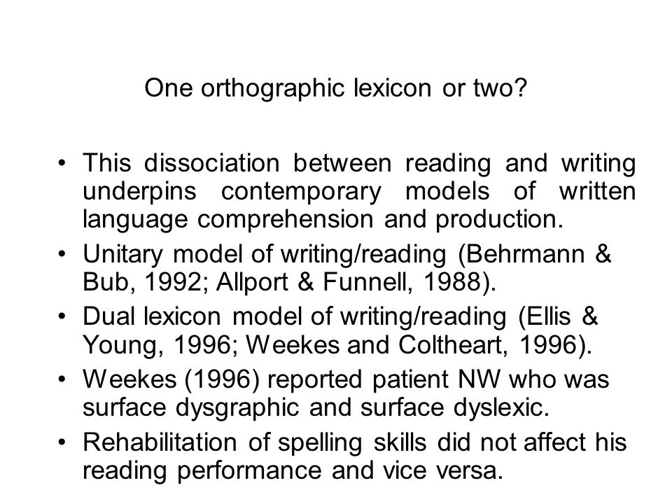Loss of nonlexical and nonsemantic routes Suggests that the route from semantics to the graphemic output lexicon was inoperative. JC did not make sema