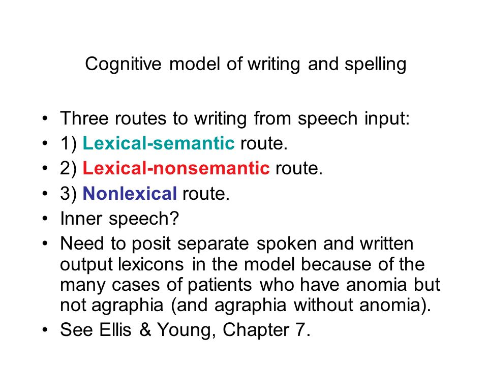 Summary Studies of dysgraphic patients reveal that spelling and writing depend on multiple routes.
