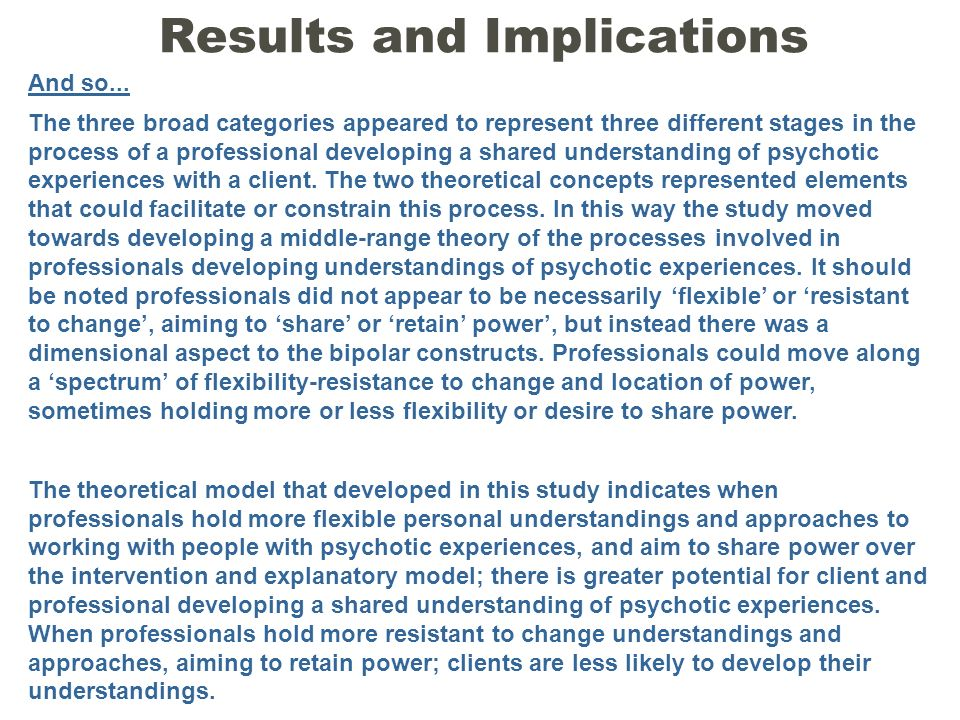 And so... The three broad categories appeared to represent three different stages in the process of a professional developing a shared understanding o