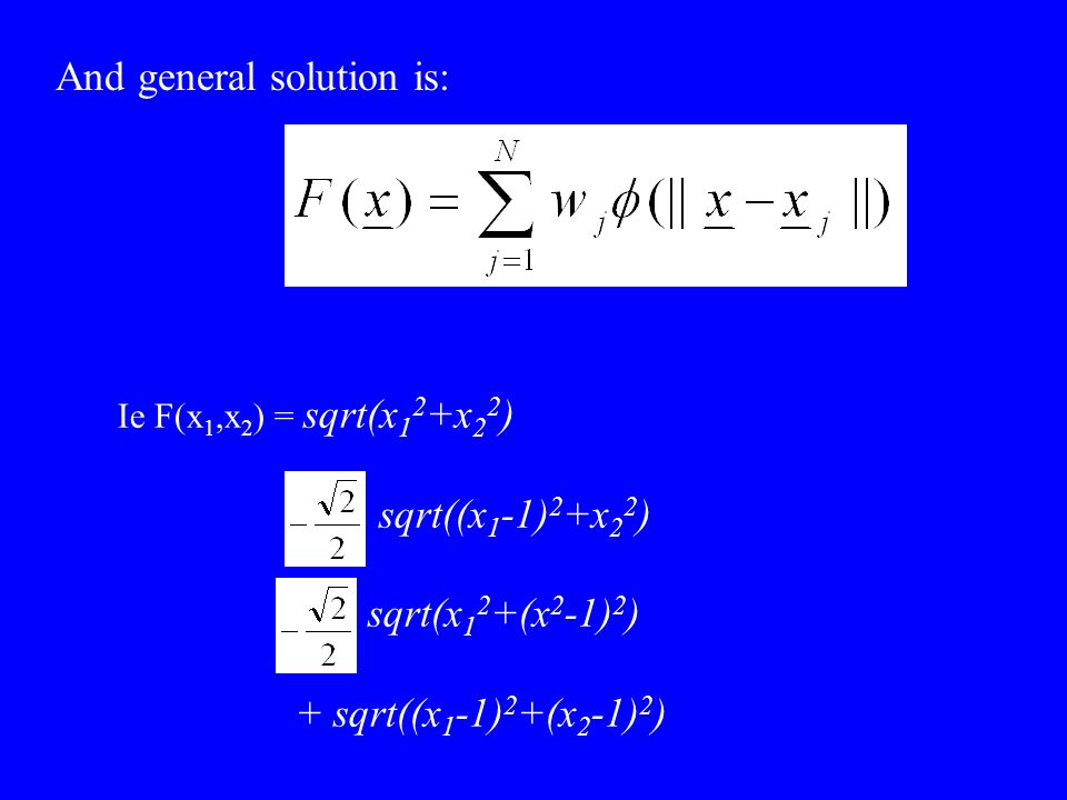Ie F(x 1,x 2 ) = sqrt(x 1 2 +x 2 2 ) sqrt((x 1 -1) 2 +x 2 2 ) sqrt(x 1 2 +(x 2 -1) 2 ) + sqrt((x 1 -1) 2 +(x 2 -1) 2 ) And general solution is: