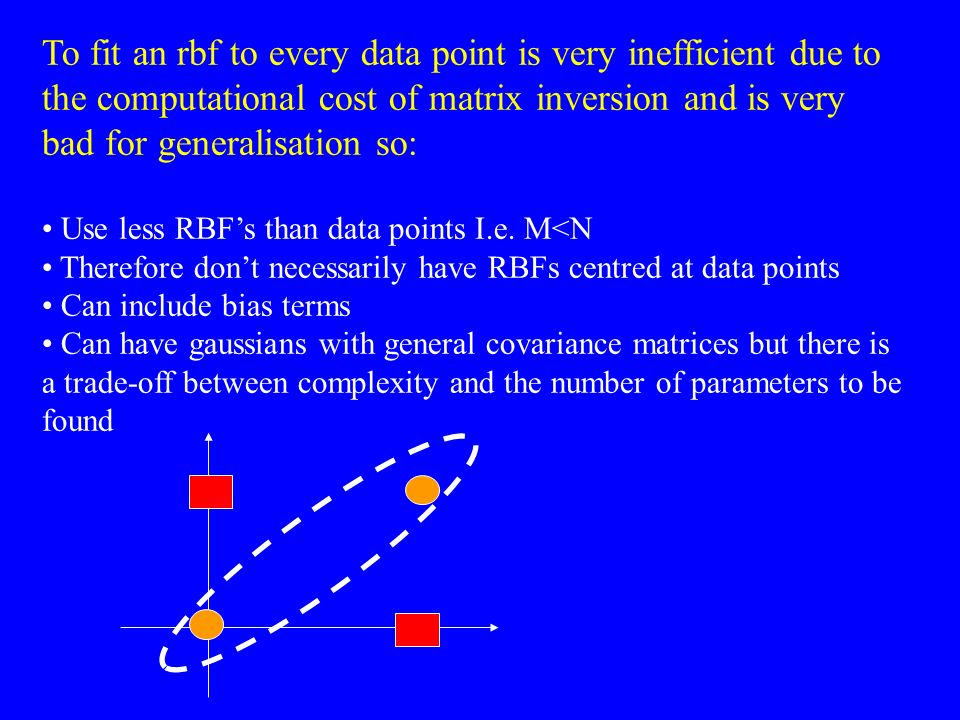 To fit an rbf to every data point is very inefficient due to the computational cost of matrix inversion and is very bad for generalisation so: Use les