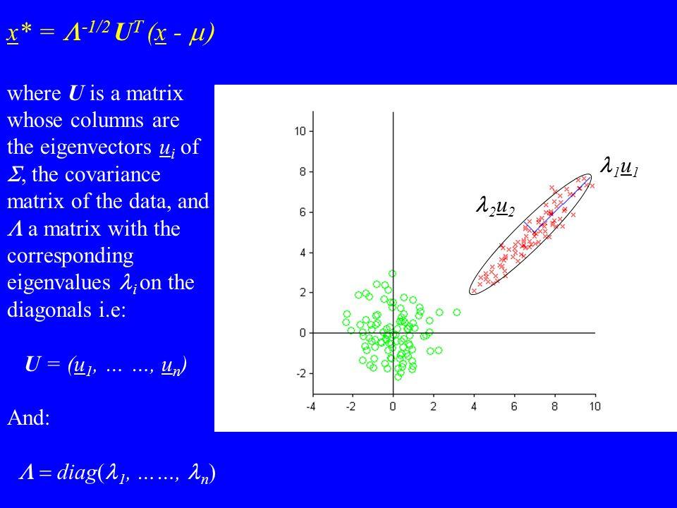 x* = -1/2 U T (x - where U is a matrix whose columns are the eigenvectors u i of, the covariance matrix of the data, and a matrix with the correspondi