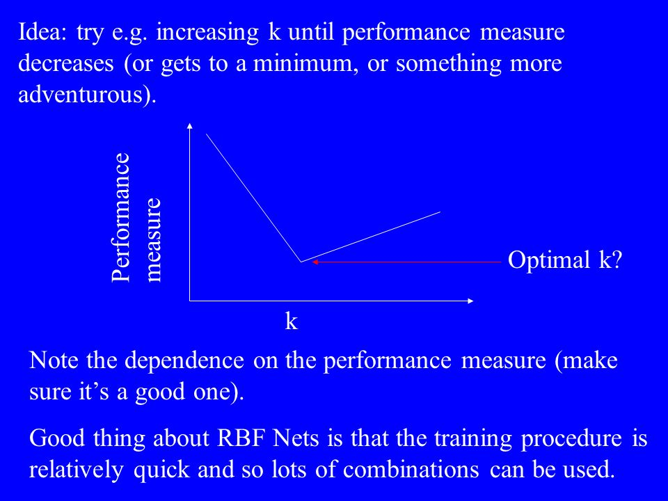 Note the dependence on the performance measure (make sure its a good one). Good thing about RBF Nets is that the training procedure is relatively quic