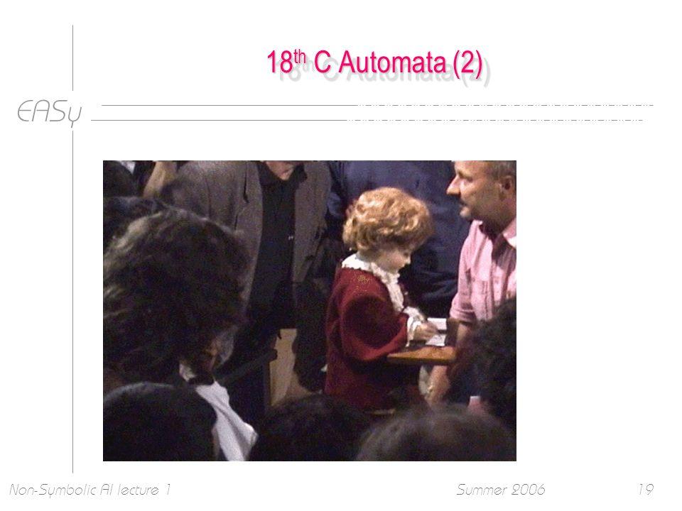 EASy Summer 2006Non-Symbolic AI lecture 119 18 th C Automata (2)