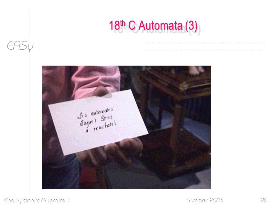 EASy Summer 2006Non-Symbolic AI lecture 120 18 th C Automata (3)