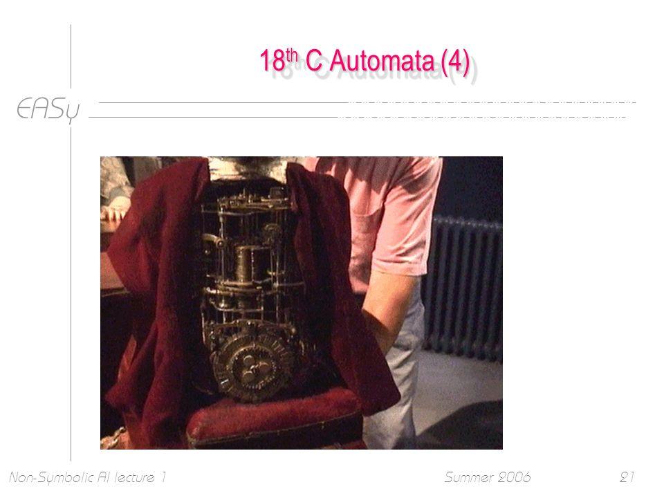 EASy Summer 2006Non-Symbolic AI lecture 121 18 th C Automata (4)