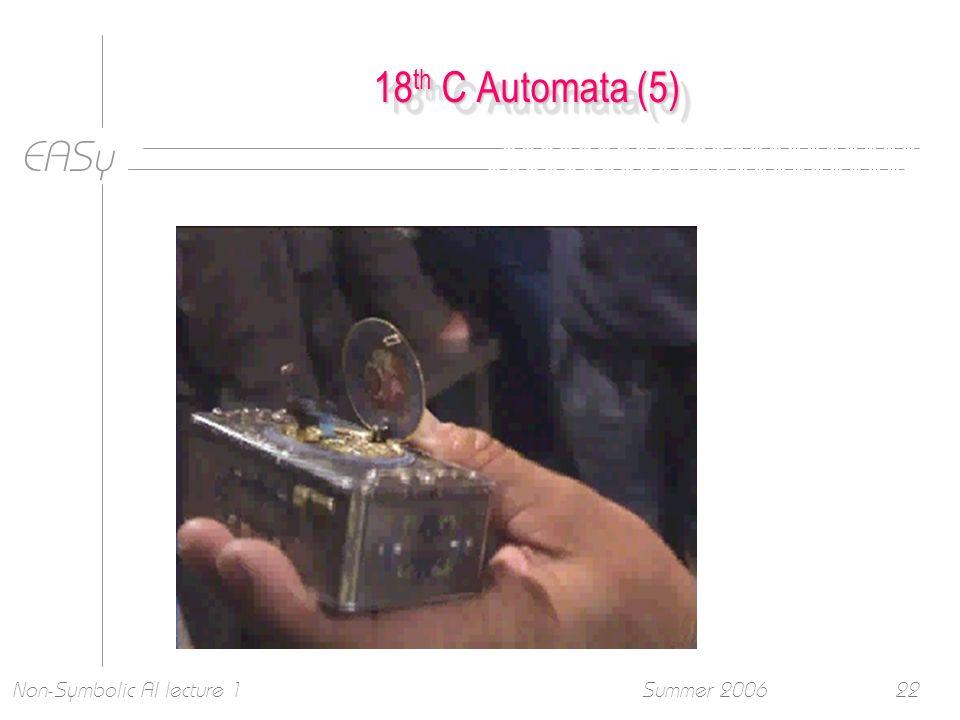 EASy Summer 2006Non-Symbolic AI lecture 122 18 th C Automata (5)