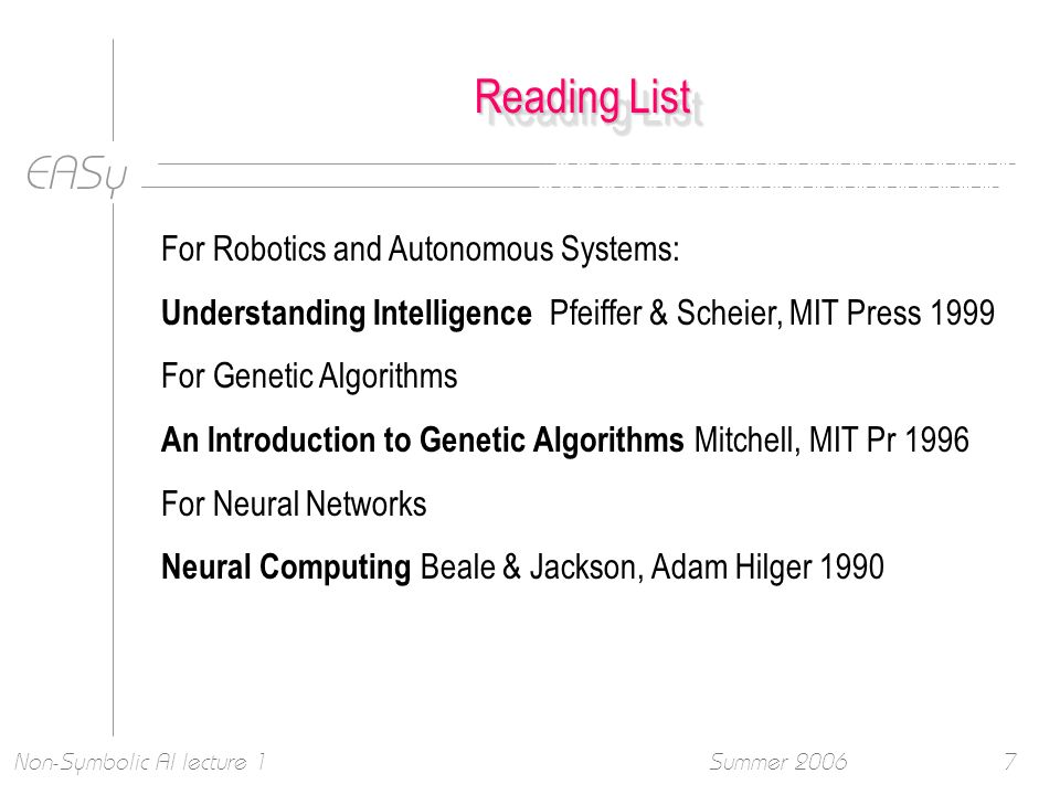 EASy Summer 2006Non-Symbolic AI lecture 17 Reading List For Robotics and Autonomous Systems: Understanding Intelligence Pfeiffer & Scheier, MIT Press 1999 For Genetic Algorithms An Introduction to Genetic Algorithms Mitchell, MIT Pr 1996 For Neural Networks Neural Computing Beale & Jackson, Adam Hilger 1990