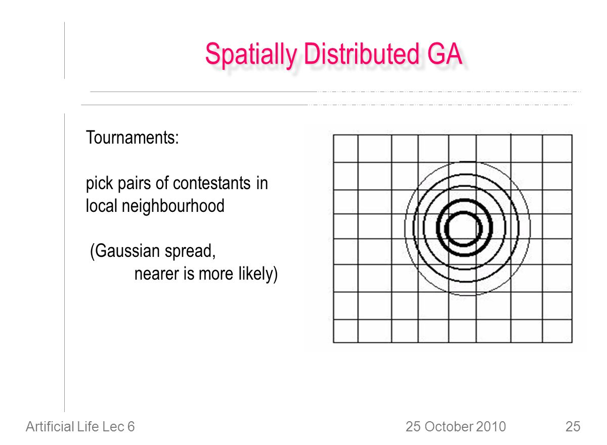 25 October 2010Artificial Life Lec 625 Spatially Distributed GA Tournaments: pick pairs of contestants in local neighbourhood (Gaussian spread, nearer is more likely)