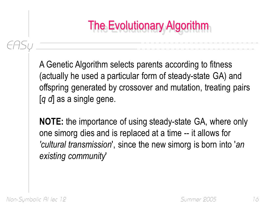 EASy Summer 2005Non-Symbolic AI lec 1216 The Evolutionary Algorithm A Genetic Algorithm selects parents according to fitness (actually he used a parti