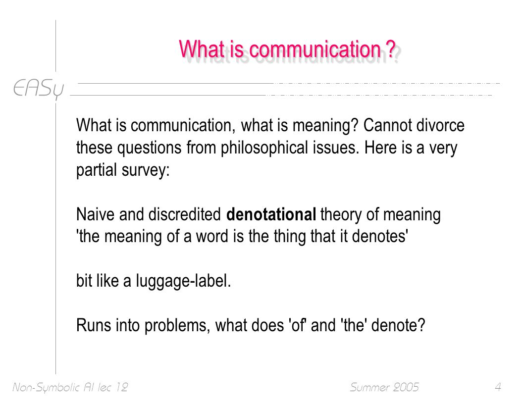 EASy Summer 2005Non-Symbolic AI lec 124 What is communication .