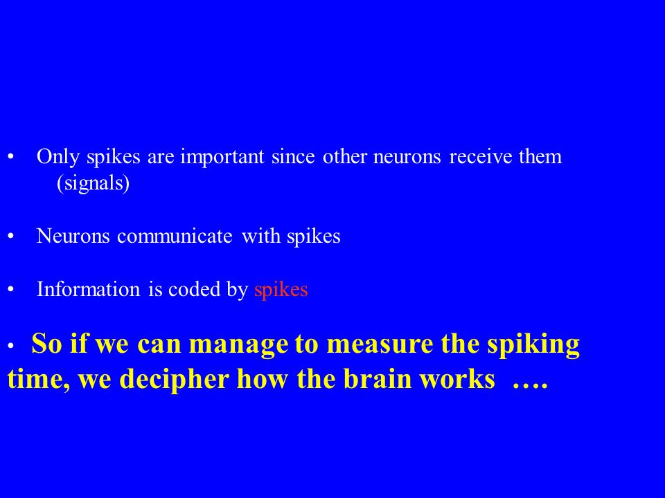 Only spikes are important since other neurons receive them (signals) Neurons communicate with spikes Information is coded by spikes So if we can manage to measure the spiking time, we decipher how the brain works ….