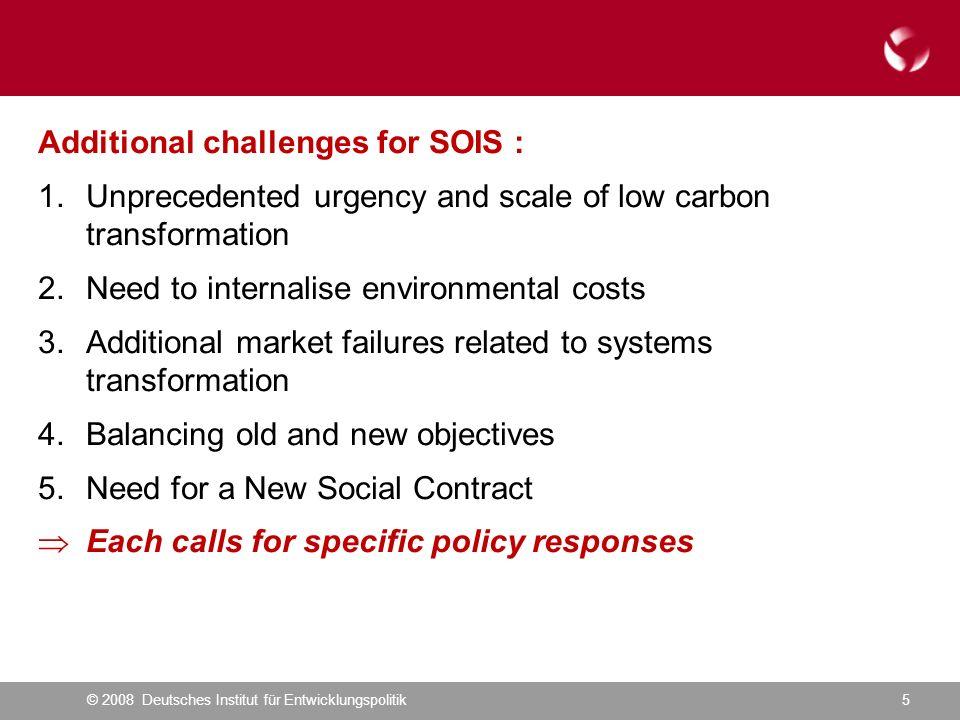 © 2008 Deutsches Institut für Entwicklungspolitik5 Additional challenges for SOIS : 1.Unprecedented urgency and scale of low carbon transformation 2.N