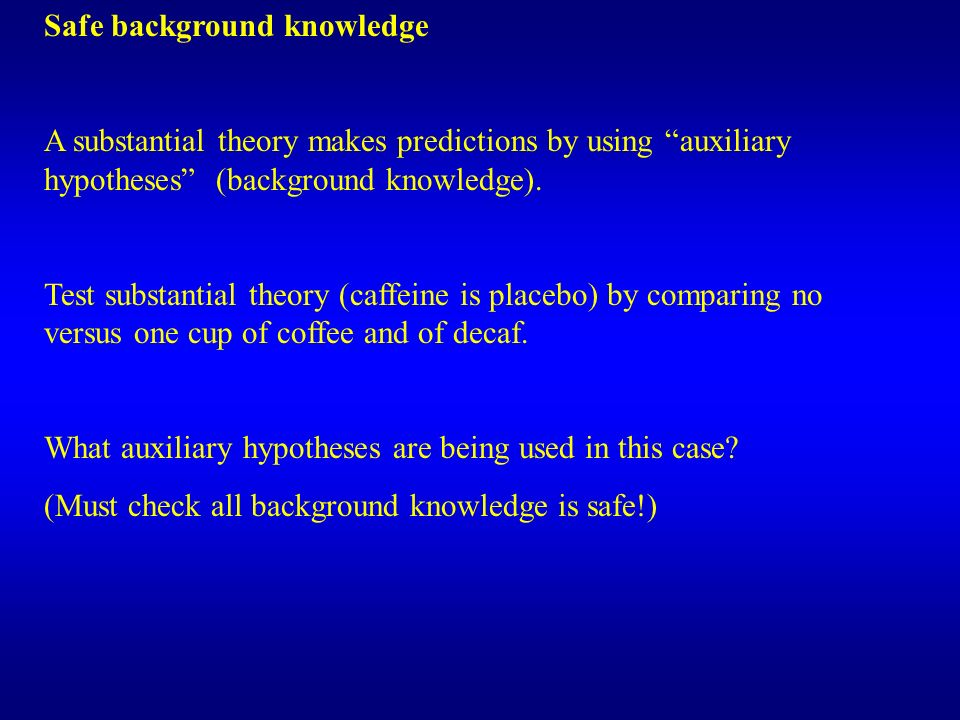 Safe background knowledge A substantial theory makes predictions by using auxiliary hypotheses (background knowledge). Test substantial theory (caffei