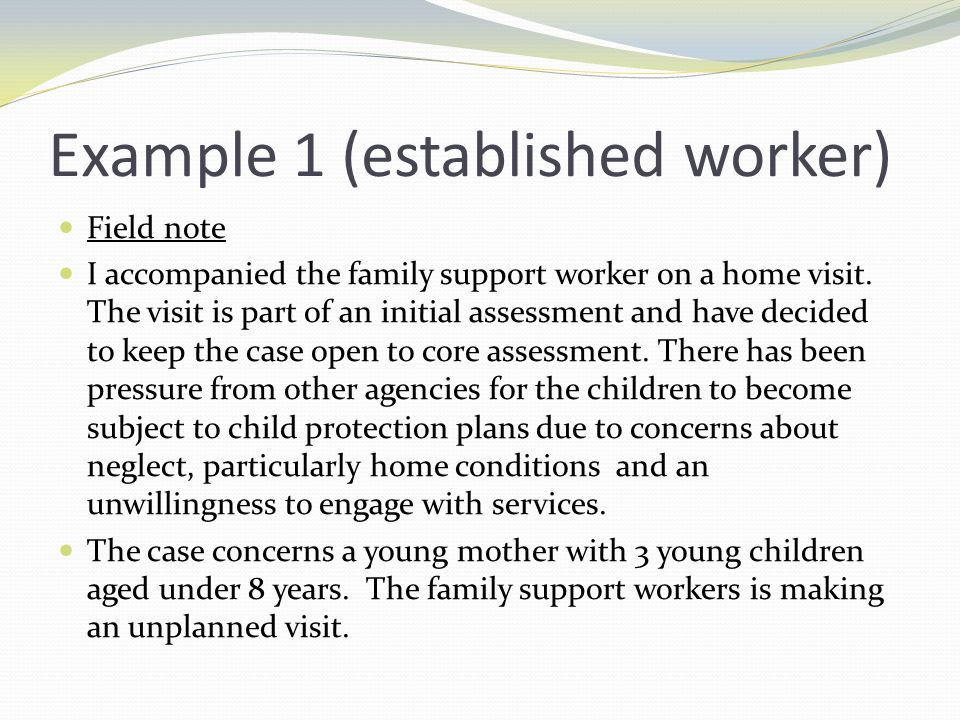 Example 1 (established worker) Field note I accompanied the family support worker on a home visit.