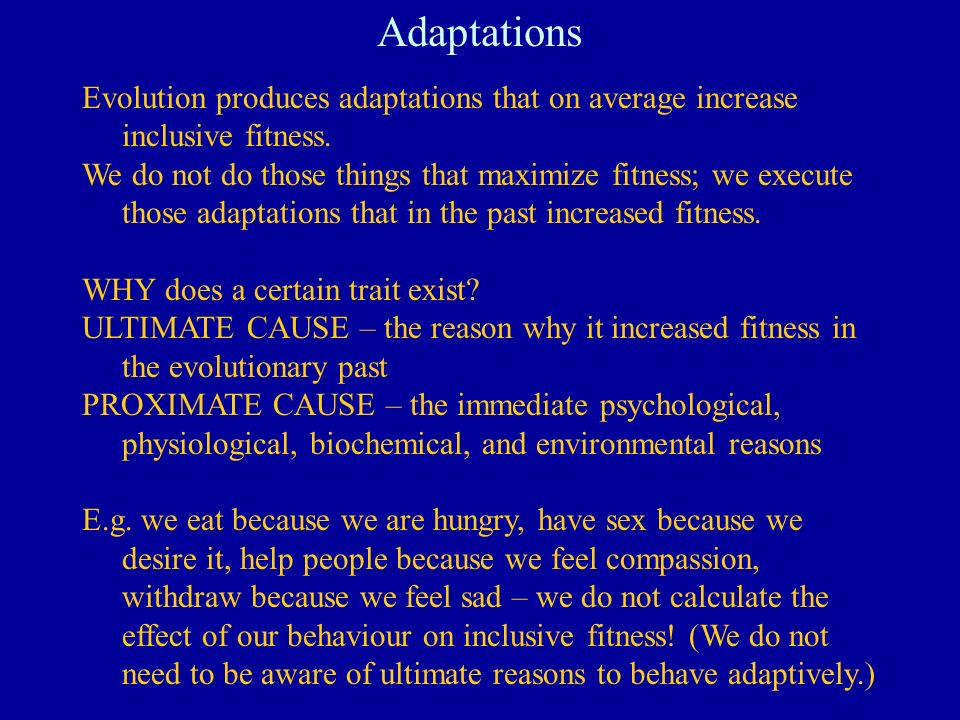 Adaptations Evolution produces adaptations that on average increase inclusive fitness. We do not do those things that maximize fitness; we execute tho